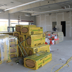 … time to install the insulation, which is still stored in the future Sales Office.